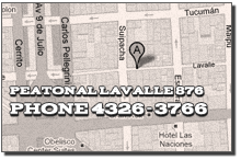 Address: 876 Lavalle Pedestrian Street / Peatonal Lavalle 876 Phones / Tel: 4322-5037 / 4326-3766